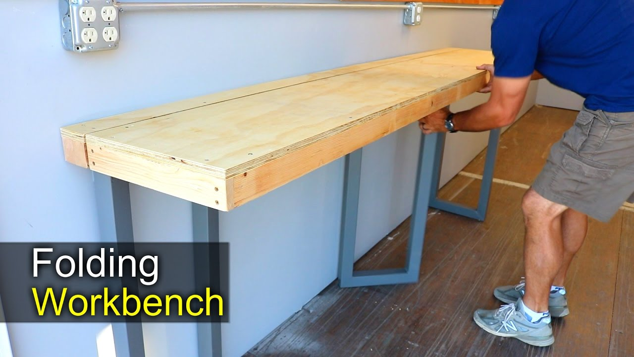 Wall Mounted Folding Workbench | Fold Down Workbench Plans | Foldable Workbench