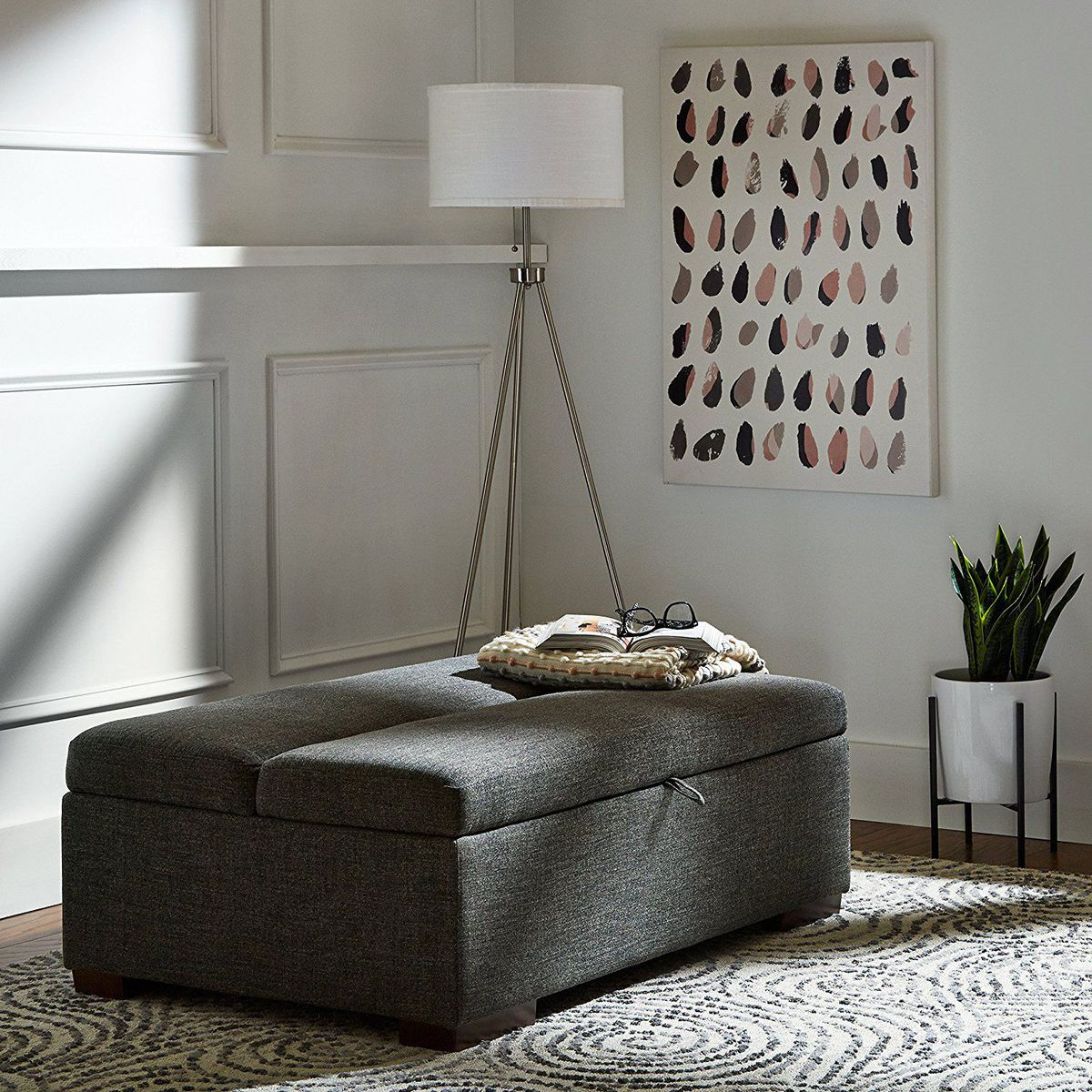 West Elm Essex Ottoman | West Elm Ottoman | Square Leather Coffee Table